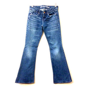 American Eagle blue flare leg distressed whiskered